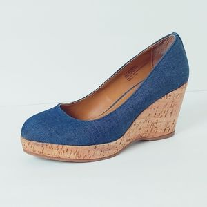 Bass Karlie Denim Wedge. Size 7.5